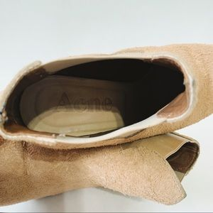 Acne Shoes - Acne Studios Beige Suede Alma Ankle Booties